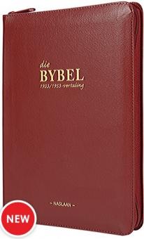 Die Bybel '33/53 Wynrooi met zip (Medium Leer)